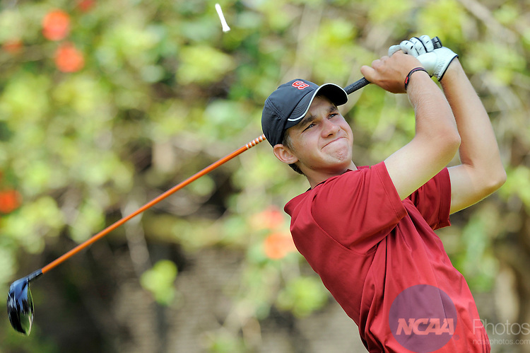 31 MAY 2012:  Patrick Rodgers of Stanford University tees off on the 11th hole during the Division I Men's Golf Championship held at the Riviera Country Club in Pacific Palisades, CA.  Rodgers tied for 9th place with a +1 score.  Jack Dempsey/NCAA Photos