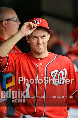 22 July 2012: Washington Nationals infielder Stephen Lombardozzi prepares to face the Atlanta Braves at Nationals Park in Washington, DC. The Nationals defeated the Braves 9-2 to split their 4-game weekend series. Mandatory Credit: Ed Wolfstein Photo