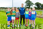 Kerry star Jason Foley with Lara Evans, Rachel Boyle, Grace Cooney, Casey O'Shea, Eva Murphy Tara Ryan footballers at the Keel GAA football camp on Friday