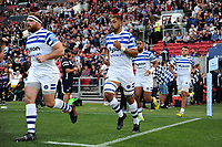 Taulupe Faletau and the rest of the Bath Rugby team run out onto the field. Gallagher Premiership match, between Bristol Bears and Bath Rugby on August 31, 2018 at Ashton Gate Stadium in Bristol, England. Photo by: Patrick Khachfe / Onside Images