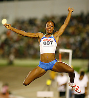 Funmi Jimoh winning the long jump with a mark of 6.57m at the Jamaica International Invitational Meet on Saturday, May 3rd. 2008. Photo by Errol Anderson, The Sporting Image.