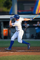 Kort Peterson (8) of the Burlington Royals follows through on his swing against the Princeton Rays at Burlington Athletic Stadium on June 24, 2016 in Burlington, North Carolina.  The Rays defeated the Royals 16-2.  (Brian Westerholt/Four Seam Images)