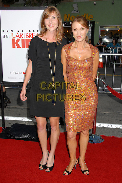 "KATHERINE FLYNN & JANE SEYMOUR.""The Heartbreak Kid"" Los Angeles Premiere at Mann's Village Theatre, Westwood, California, USA..September 27th, 2007.full length gold bronze orange dress shimmery shiny jewel encrusted black mother daughter family .CAP/ADM/BPC.©Brent Perniac/AdMedia/Capital Pictures."