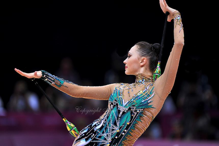 August 10, 2012; London, Great Britain;  ANNA ALYABYEVA of Kazakhstan performs with clubs during day 2 of rhythmic gymnastics qualifying at London 2012 Olympics.