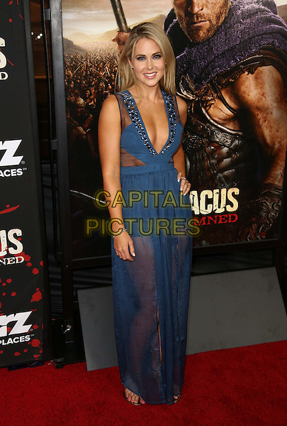 "Anna Hutchison.Premiere Of Starz's ""Spartacus: War Of The Damned""'  Held At Regal Cinemas, L.A. Live, Los Angeles, California, USA,  .22nd January 2013..full length blue sheer see thru though dress long maxi hand on hip low cut cleavage .CAP/ADM/KB.©Kevan Brooks/AdMedia/Capital Pictures."