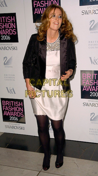 DAISY DONOVAN.British Fashion Awards 2006, Victoria & Albert Museum, London, UK..November 2nd, 2006.Ref: CAN.V&A full length cream white satin dress black jacket .www.capitalpictures.com.sales@capitalpictures.com.©Can Nguyen/Capital Pictures