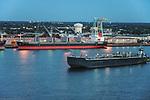 Aerial view of Port of Camden NJ,  USS New Jersy Delaware River, outside of Philadelphia