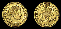 BNPS.co.uk (01202 558833)<br /> Pic:  DixNoonanWebb/BNPS <br /> <br /> The first Christian Emperor of the Roman world.<br /> <br /> 1600 year old coin looks as good as new...<br /> <br /> A determined metal detectorist is set to make a small fortune after uncovering an extremely historic and rare Roman gold coin.<br /> <br /> The 4th century AD treasure, carrying the portrait of Constantine I, was found a foot below the surface of a field near Wanstrow, Somerset.<br /> <br /> Constantine was proclaimed Emperor whilst on campaign in York in 306 AD, after the death of his father Constantius - he then took several years to defeat other claiments to the title before uniting the entire Empire and embracing the cult of christianity. <br /> <br /> The gold solidus is one of the first examples of this type to be unearthed in this country, and was discovered close to a Roman road once used for transporting mined lead ore.<br /> <br /> Now, the lucky detectorist is selling it at auction with Dix Noonan Webb, of London, who expect it to fetch over £12,000.