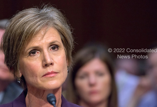 Former Acting Attorney General of the United States Sally Q. Yates appears before the US Senate Committee on the Judiciary Subcommittee on Crime and Terrorism hearing titled &ldquo;Russian Interference in the 2016 United States Election&rdquo; on Capitol Hill in Washington, DC on Monday, May 8, 2017.<br /> Credit: Ron Sachs / CNP<br /> (RESTRICTION: NO New York or New Jersey Newspapers or newspapers within a 75 mile radius of New York City)