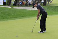 Ashley Chesters (ENG) sinks his birdie putt on the 1st green during Sunday's storm delayed Final Round 3 of the Andalucia Valderrama Masters 2018 hosted by the Sergio Foundation, held at Real Golf de Valderrama, Sotogrande, San Roque, Spain. 21st October 2018.<br /> Picture: Eoin Clarke | Golffile<br /> <br /> <br /> All photos usage must carry mandatory copyright credit (&copy; Golffile | Eoin Clarke)