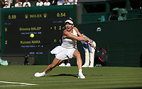 Simona Halep (ROU) in action during her match against Kurumi Nara (JPN)<br /> <br /> Photographer Rob Newell/CameraSport<br /> <br /> Wimbledon Lawn Tennis Championships - Day 2 - Tuesday 3rd July 2018 -  All England Lawn Tennis and Croquet Club - Wimbledon - London - England<br /> <br /> World Copyright &not;&copy; 2017 CameraSport. All rights reserved. 43 Linden Ave. Countesthorpe. Leicester. England. LE8 5PG - Tel: +44 (0) 116 277 4147 - admin@camerasport.com - www.camerasport.com