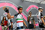 Italian National Champion Fabio Aru (ITA) UAE Team Emirates signs on before the start of Stage 6 of the 2018 Giro d'Italia, running 169km from Caltanissetta to the Etna (Osservatorio Astrofisico) marks the first mountain finish of the race finishing on the Osservatorio Astrofisico climb for the first time in race's history, Sicily, Italy. 10th May 2018.<br /> Picture: LaPresse/Gian Mattia D'Alberto | Cyclefile<br /> <br /> <br /> All photos usage must carry mandatory copyright credit (&copy; Cyclefile | LaPresse/Gian Mattia D'Alberto)