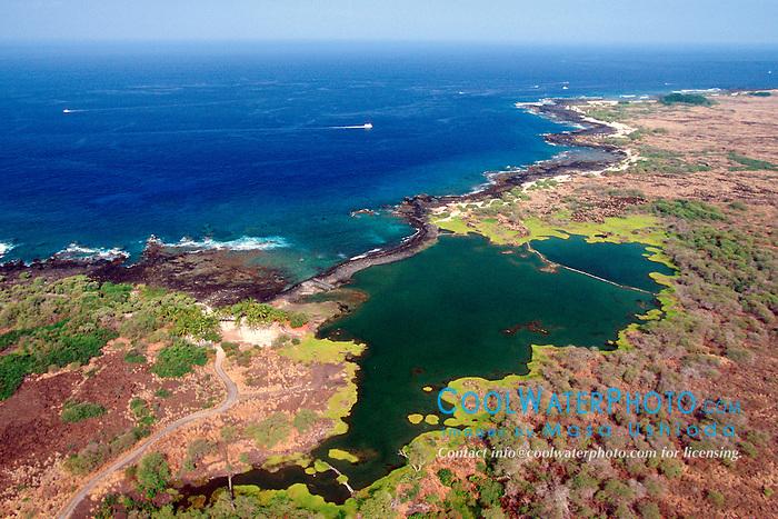 Kaloko Fish Pond (freshwater pond), .Kaloko-Honokohau National Historical Park, .Kona Coast, Big Island, Hawaii.