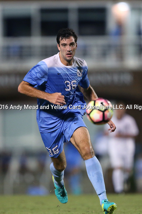 16 September 2016: North Carolina's Tucker Hume. The University of North Carolina Tar Heels hosted the University of Pittsburgh Panthers in Chapel Hill, North Carolina in a 2016 NCAA Division I Men's Soccer match. UNC won the game 1-0.