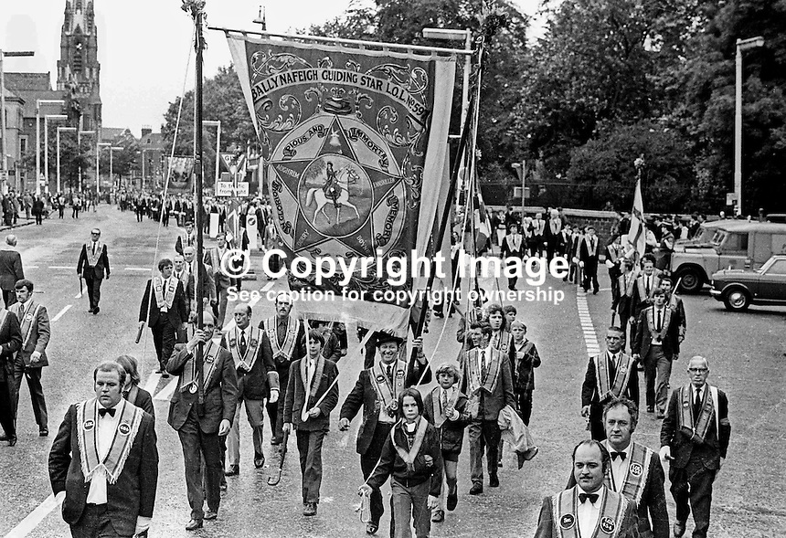 Orangemen take part in the Twelfth Parade in Belfast, N Ireland, UK. Ref: 197307020.<br />