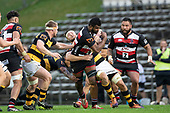 Sikeli Nabou fights his way through a group of Taranaki defenders. Mitre 10 Cup rugby game between Counties Manukau Steelers and Taranaki Bulls, played at Navigation Homes Stadium, Pukekohe on Saturday August 10th 2019. Taranaki won the game 34 - 29 after leading 29 - 19 at halftime.<br /> Photo by Richard Spranger.