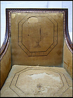 BNPS.co.uk (01202 558833)<br /> Pic: EmmaTelford/BNPS<br /> <br /> Hard life - Front of one of the two 300 year old chair's when they came in for conservation.<br /> <br /> Seat of Power - The First Duke of Marlborough&rsquo;s campaign chairs, upon which he sat to plot the downfall of the French King Louis XIV, are returning to Blenheim Palace following an 18-month restoration.<br />