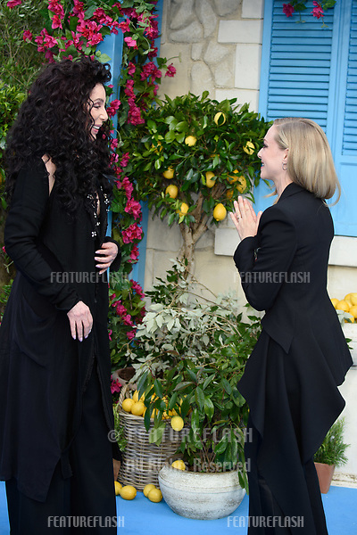 "Cher & Amanda Seyfried arriving for the ""Mama Mia! Here We Go Again"" world premiere at the Eventim Apollo, Hammersmith, London, UK. <br /> 16 July  2018<br /> Picture: Steve Vas/Featureflash/SilverHub 0208 004 5359 sales@silverhubmedia.com"