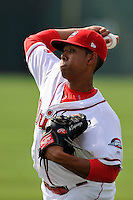 Starting pitcher Anderson Espinoza (39) of the Greenville Drive warms up before his Class A debut in a game against the Savannah Sand Gnats on Saturday, September 5, 2015, at Fluor Field at the West End in Greenville, South Carolina. Espinoza is a 17-year-old from Venezuela. (Tom Priddy/Four Seam Images)