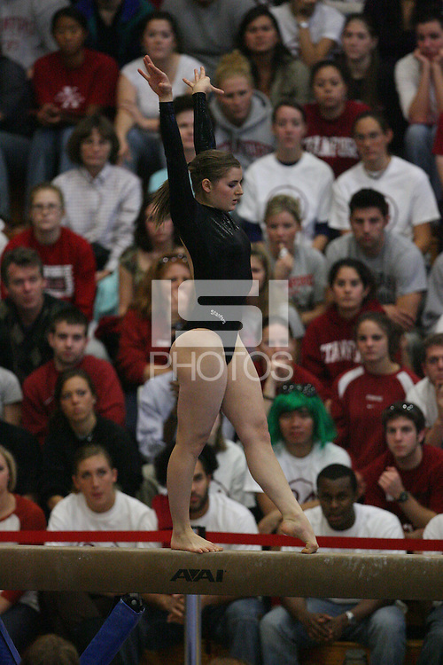 13 January 2008: Stanford Cardinal Carly Janiga during Stanford's 196.875-196.150 loss against the Georgia Gym Dogs (Bulldogs) at Burnham Pavilion in Stanford, CA.