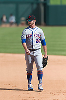 Scottsdale Scorpions first baseman Peter Alonso (20), of the New York Mets organization, during an Arizona Fall League game against the Glendale Desert Dogs at Camelback Ranch on October 16, 2018 in Glendale, Arizona. Scottsdale defeated Glendale 6-1. (Zachary Lucy/Four Seam Images)