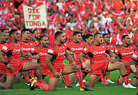 Tonga performs a haka before the 2017 Rugby League World Cup match between the Toa Samoa and Mate Ma'a Tonga at the FMG Stadium in Hamilton, New Zealand on Saturday, 4 November 2017. Photo: Dave Lintott / lintottphoto.co.nz