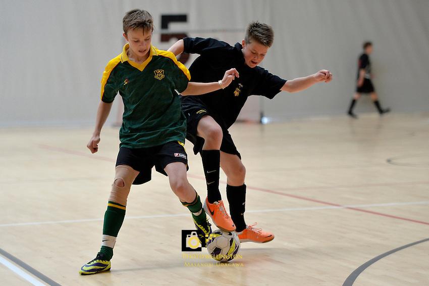 Action from the Futsal Regional Junior Championships at Te ASB Sports Centre, Kilbirnie, New Zealand on Sunday 23 March 2014. <br /> Photo by Masanori Udagawa. <br /> www.photowellington.photoshelter.com.