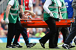 Gabriel of Arsenal stretchered off after getting injured during the English Premier League match at the Emirates Stadium, London. Picture date: May 21st 2017.Pic credit should read: Charlie Forgham-Bailey/Sportimage