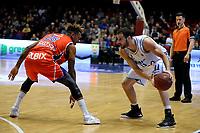 GRONINGEN -  Basketbal, Donar - New Heroes Den Bosch, Martiniplaza, Dutch Basketbal League, seizoen 2018-2019,  26-01-2019, Den Bosch speler Jessey Voorn met Donar speler Shane Hammink