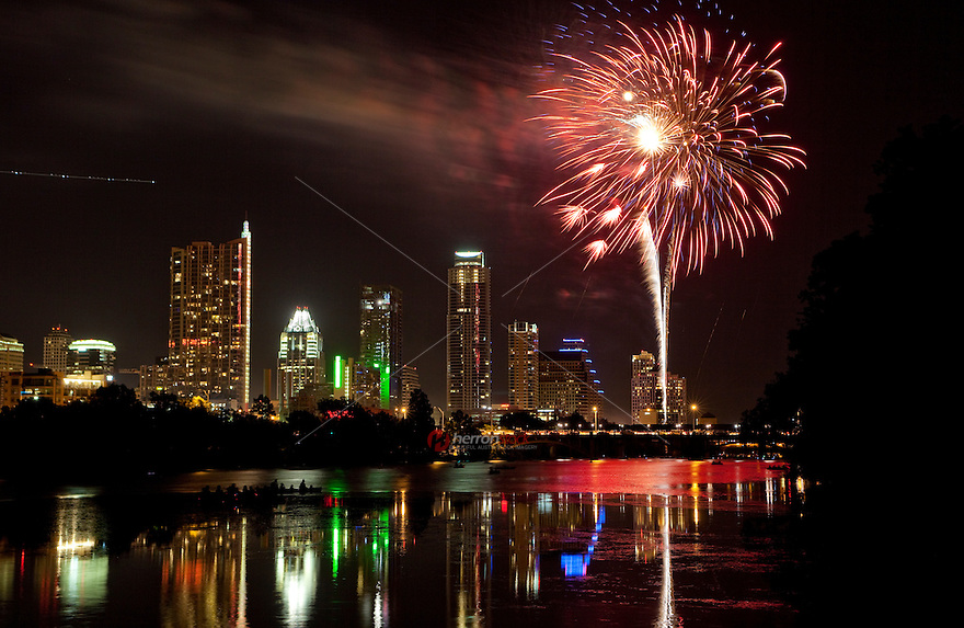 Independance Day Fireworks Display over Lake Austin in Downtown Austin, Texas