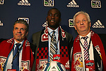 14 January 2010: Tony Tchani was selected with the #2 overall pick by New York Red Bulls. From left: Erik Soler, Tony Tchani, Hans Backe. The 2010 MLS SuperDraft was held in the Ballroom at Pennsylvania Convention Center in Philadelphia, PA during the NSCAA Annual Convention.