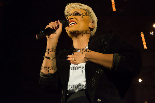 Emeli Sande - Scottish singer-songwriter performing live on her sold out 'Our Version of Events Tour' in support of her album of the same title at the Apollo Hammersmith in London UK - 08 April 2013.  Photo credit: Justin Ng/IconicPix