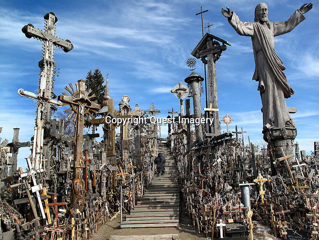 The Hill of Crosses, located 12 kilometers north of the small industrial city of Siauliai is the Lithuanian national pilgrimage center. Standing upon a small hill are many hundreds of thousands of crosses that represent Christian devotion and a memorial to Lithuanian national identity. <br /> Photo by Deirdre Hamill/Quest Imagery