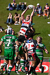 Andrew Van der Heijden claims to ball from a kickoff. Air New Zealand Cup rugby game between the Counties Manukau Steelers & Manawatu Turbos, played at Growers Stadium Pukekohe on Staurday September 20th 2008..Counties Manukau won 27 - 14 after trailing 14 - 7 at halftime.