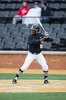 Kevin Jordan (21) of the Wake Forest Demon Deacons at bat against the Appalachian State Mountaineers at Wake Forest Baseball Park on February 13, 2015 in Winston-Salem, North Carolina.  The Mountaineers defeated the Demon Deacons 10-1.  (Brian Westerholt/Four Seam Images)