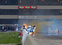 Jun 2, 2018; Joliet, IL, USA; NHRA funny car driver John Force crashes into the wall during qualifying for the Route 66 Nationals at Route 66 Raceway. Mandatory Credit: Mark J. Rebilas-USA TODAY Sports