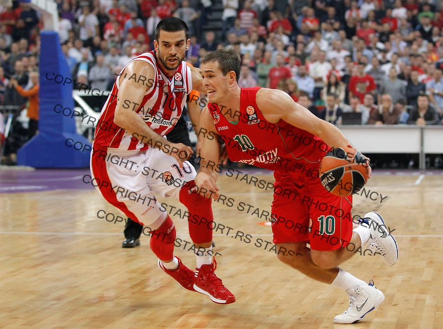 Kosarka Euroleague season 2013-2014<br /> Crvena zvezda v lokomotiva Kuban<br /> Euroleague<br /> Sergey Bykov (R) and Branko Lazic<br /> Beograd, 17,10.2013.<br /> foto: Srdjan Stevanovic/Starsportphoto &copy;