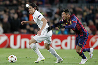 FC Barcelona's Adriano Correia (r) and Paris Saint-Germain's Edison Cavani during Champions League 2014/2015 match.December 10,2014. (ALTERPHOTOS/Acero) /NortePhoto