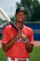 Batavia Muckdogs Brayan Hernandez (18) poses for a photo on July 2, 2018 at Dwyer Stadium in Batavia, New York.  (Mike Janes/Four Seam Images)