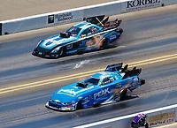 Jul 30, 2017; Sonoma, CA, USA; NHRA funny car driver John Force (near) alongside Jeff Diehl during the Sonoma Nationals at Sonoma Raceway. Mandatory Credit: Mark J. Rebilas-USA TODAY Sports