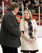 Joe Bertagna, Tammy Shewchuk Dryden (Harvard honoree) - The Harvard University Crimson defeated the Northeastern University Huskies 1-0 to win the 2010 Beanpot on Tuesday, February 9, 2010, at the Bright Hockey Center in Cambridge, Massachusetts.