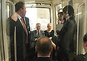 United States Senators Kirsten Gillibrand (Democrat of New York), right, and Chuck Schumer (Democrat of New York), left, ride the Senate Subway to another meeting with Governor Andrew Cuomo (Democrat of New York) during the Governor's visit to Capitol Hill for a series of meetings with Congressional Leadership on Monday, December 3, 2012..Credit: Ron Sachs / CNP.(RESTRICTION: NO New York or New Jersey Newspapers or newspapers within a 75 mile radius of New York City)