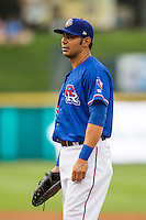 Round Rock Express first baseman Carlos Pena (33) during the Pacific Coast League baseball game against the Sacramento River Cats on June 19, 2014 at the Dell Diamond in Round Rock, Texas. The Express defeated the River Cats 7-1. (Andrew Woolley/Four Seam Images)
