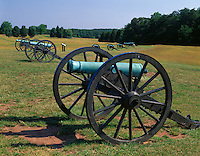 Manassas National Battlefield Park, VA<br /> Confederate cannons aligned on Henry Hill in the First Manassas Battlefield of 1861
