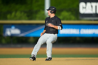 Gavin Sheets (24) of the Wake Forest Demon Deacons puts on the brakes after rounding second base during the game against the West Virginia Mountaineers in Game Six of the Winston-Salem Regional in the 2017 College World Series at David F. Couch Ballpark on June 4, 2017 in Winston-Salem, North Carolina.  The Demon Deacons defeated the Mountaineers 12-8.  (Brian Westerholt/Four Seam Images)