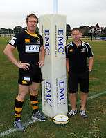 Photo: Richard Lane/Richard Lane Photography. Aviva Premiership Rugby. Britsh and Irish Lions and Welsh International, Andy Powell signs for London Wasps. 13/07/2010. Andy Powell with London Wasps Dorector of Rugby, Toy Hanks.
