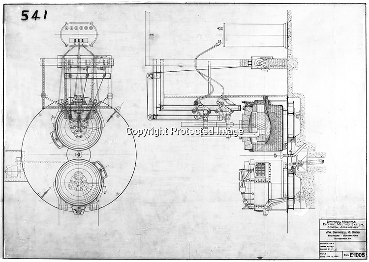 Pittsburgh PA:  View of William Swindell & Brothers engineering drawing of multiple Electric Melting System General Arrangement - 1922.  Swindell Dressler International Company was based in Pittsburgh, Pennsylvania. The company was founded by Phillip Dressler in 1915 as American Dressler Tunnel Kilns, Inc.  In 1930, American Dressler Tunnel Kilns, Inc. merged with William Swindell and Brothers to form Swindell-Dressler Corporation. The Swindell brothers designed, built, and repaired metallurgical furnaces for the steel and aluminum industries. The new company offered extensive heat-treating capabilities to heavy industry worldwide.