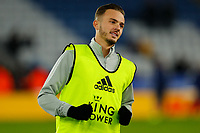 4th March 2020; King Power Stadium, Leicester, Midlands, England; English FA Cup Football, Leicester City versus Birmingham City; James Maddison of Leicester City during the pre-match warm-up