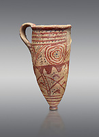 Cycladic conical rhython with spiral decorations.   Cycladic (1650-1450 BC) , Phylakopi III, Melos. National Archaeological Museum Athens.  Cat no 5791.  Grey background.<br /> <br /> <br /> Ceramic shapes and painted style are heavily influenced by Minoan styles during this period. Dark floral and spiral patterns are painted over a lighted backgound with wavy bands.