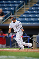 Staten Island Yankees shortstop Eduardo Torrealba (13) follows through on a swing during a game against the Lowell Spinners on August 22, 2018 at Richmond County Bank Ballpark in Staten Island, New York.  Staten Island defeated Lowell 10-4.  (Mike Janes/Four Seam Images)